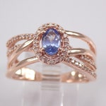 Tanzanite and Diamond Engagement Ring, Rose Gold Crossover Ring, Tanzanite Halo Ring, Multi Row Gold Band FREE Sizing