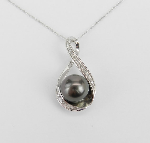 "14K White Gold Diamond and Black Tahitian Pearl Pendant Necklace with Chain 18"" Infinity Necklace"