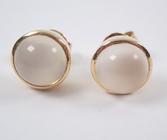 Vintage Antique 18K Yellow Gold Moonstone Stud Earrings Bezel Set Studs