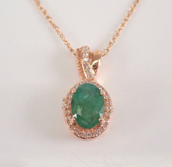 """Rose Gold Emerald and Diamond Halo Pendant Necklace 18"""" Chain May Gemstone"""