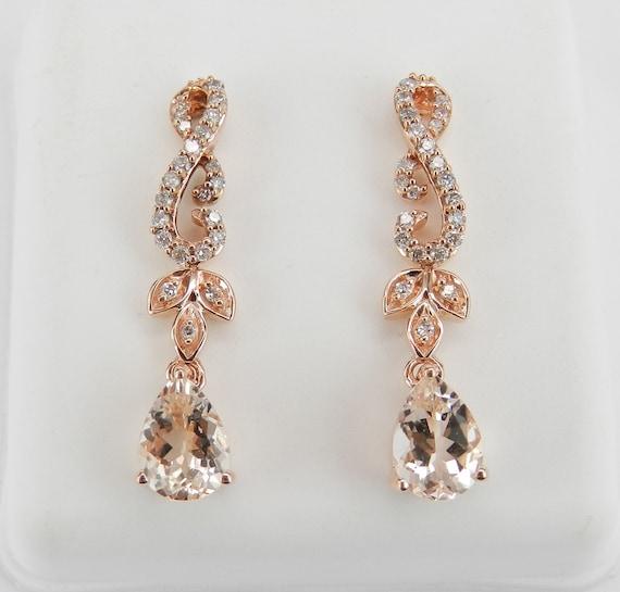 Diamond and Morganite Earrings, Rose Gold Morganite Earrings, Morganite Dangle Earrings, Dangle Drop Earrings, Pink Aquamarine Earrings