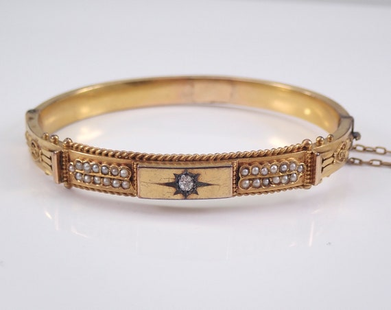 Victorian Diamond and Seed Pearl Bangle Bracelet Vintage Antique Yellow Gold
