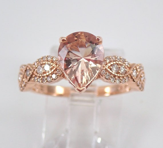 Pear Morganite and Diamond Engagement Ring 14K Rose Gold Size 7 Pink Aquamarine FREE Sizing