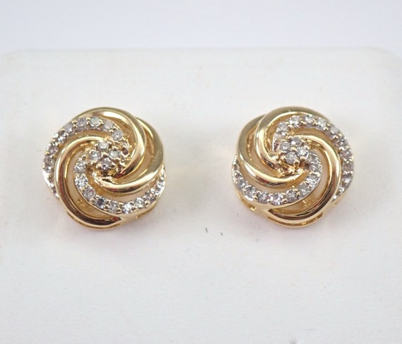 Yellow Gold Diamond Studs Swirl Cluster Stud Earrings Bridesmaid Gift