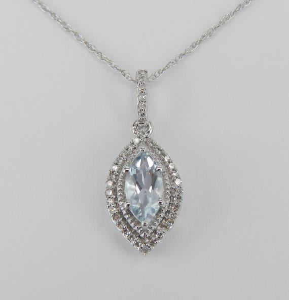 "Diamond and Aquamarine Pendant Marquise Halo Necklace White Gold 18"" Chain Aqua March Gemstone"
