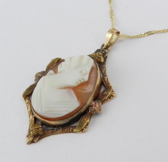 """Antique Edwardian 14K Yellow Gold Cameo Victorian Pendant Necklace 18"""" Chain"""