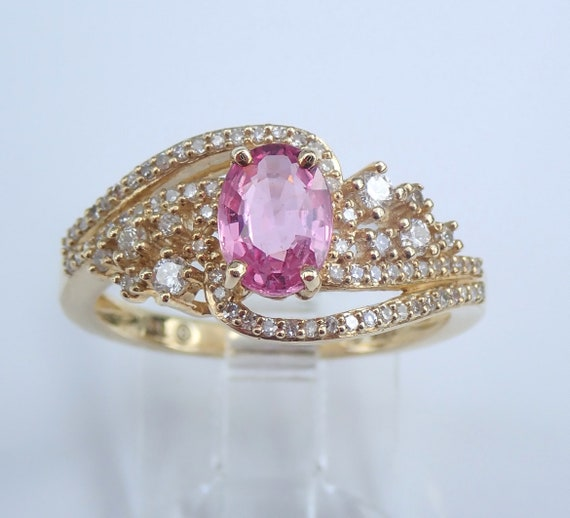 Pink Sapphire and Diamond Engagement Ring Yellow Gold Promise Size 7 VIVID FREE Sizing