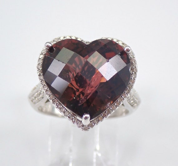 9.75 ct Heart Garnet and Diamond Halo Engagement Ring 14K White Gold Size 6.75 January Birthstone FREE Sizing