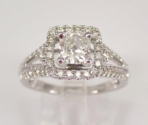 14K White Gold 1.51 ct Radiant Cut Diamond Halo Engagement Ring Size 6.75 FREE SIZING