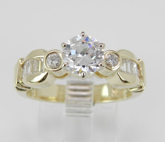 Engagement Ring Setting Semi Mount Mounting Round Cut Diamond Bridal Jewelry 14K Yellow Gold