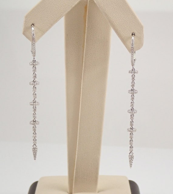 14K White Gold Diamond Earrings Unique Long Chandelier Dangle Drop Wedding Gift