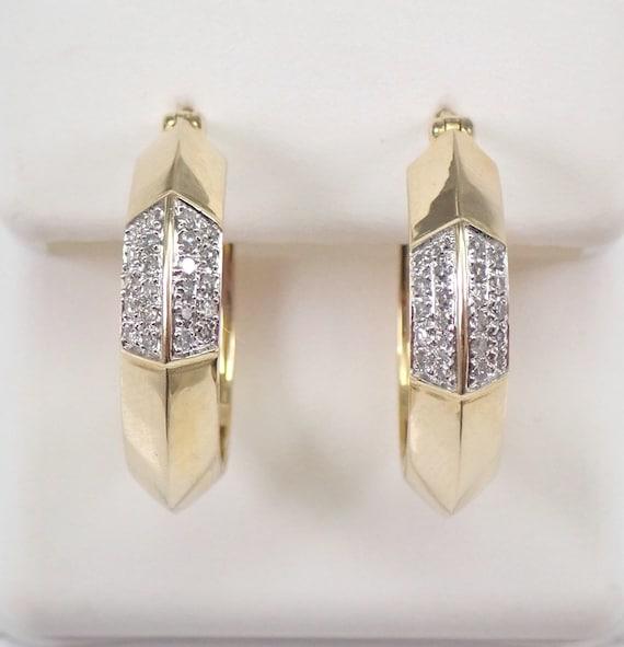 Yellow Gold 1/4 ct Diamond Hoop Earrings Diamond Hoops Huggies Gift