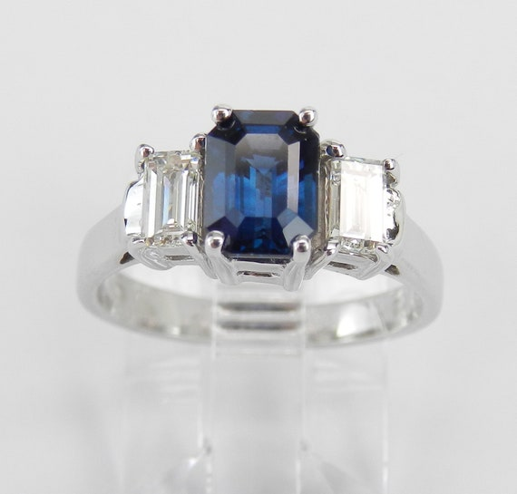 14K White Gold Sapphire Diamond Three Stone Engagement Ring Emerald Cut Size 5 FREE Sizing