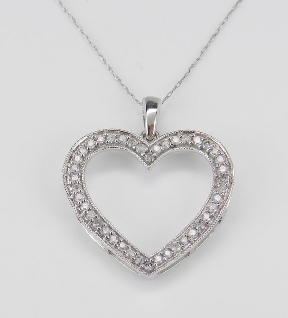 "Diamond Heart Pendant, Diamond Heart Necklace, White Gold Diamond Heart Necklace, Chain 18"" Wedding Gift"
