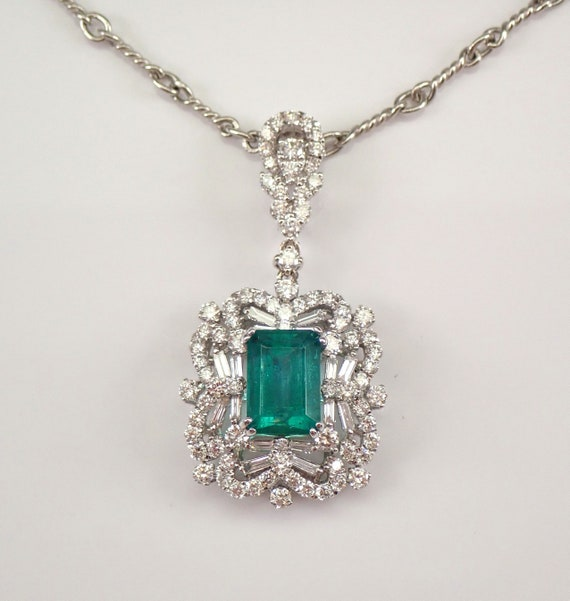 "18K White Gold 4.27 ct Emerald and Diamond Halo Pendant Necklace 20"" Chain May Birthstone"