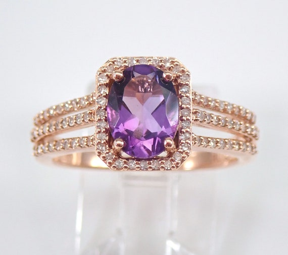 14K Rose Gold Diamond and Oval Purple Amethyst Halo Engagement Ring Size 7 FREE SIZING