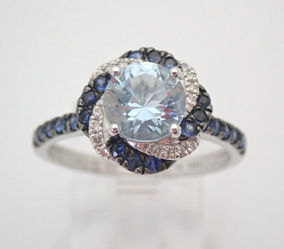 14K White Gold Diamond Aquamarine Sapphire Halo Engagement Ring Size 7 FREE SIZING