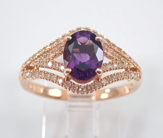 14K Rose Gold Diamond and Oval Purple Amethyst Engagement Ring Size 7.25 FREE SIZING
