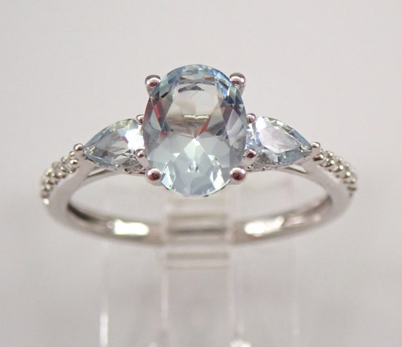 White Gold Aquamarine and Diamond Three Stone Engagement Ring Anniversary Band Size 7 FREE Sizing