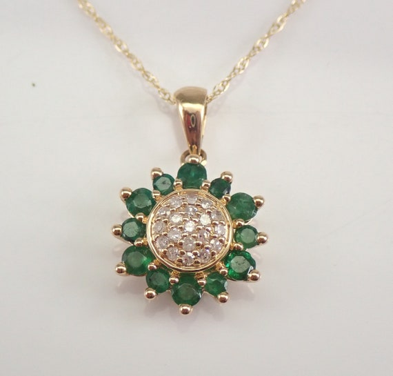 """Diamond and Emerald Cluster Pendant 14K Yellow Gold Sun Necklace Chain 18"""""""