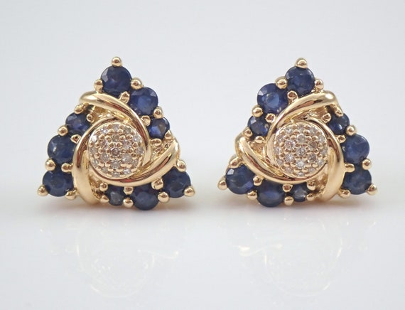 Sapphire and Diamond Stud Earrings Cluster Studs Yellow Gold September Birthday