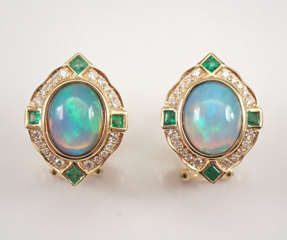 14K Yellow Gold 4.42 ct Opal Emerald and Diamond Halo Earrings October Omega Clasps
