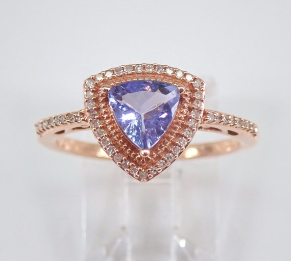 Rose Gold Diamond and Trillion Tanzanite Halo Engagement Ring Size 7 December Birthstone