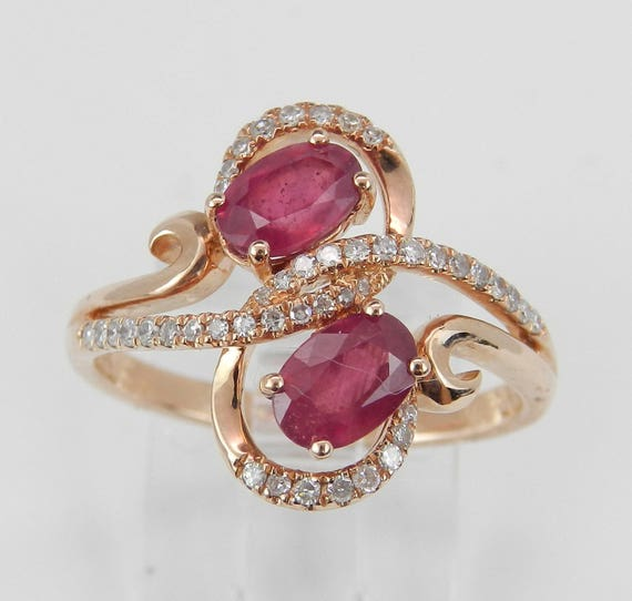 14K Rose Gold 1.40 ct Diamond and Ruby Cocktail Ring, Two Stone Right Hand Ring, Size 7, July Gemstone