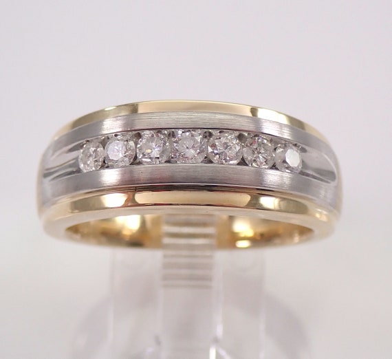 Men's 1/2 ct Diamond Wedding Ring Anniversary Band White and Yellow Gold Size 10 FREE SIZING