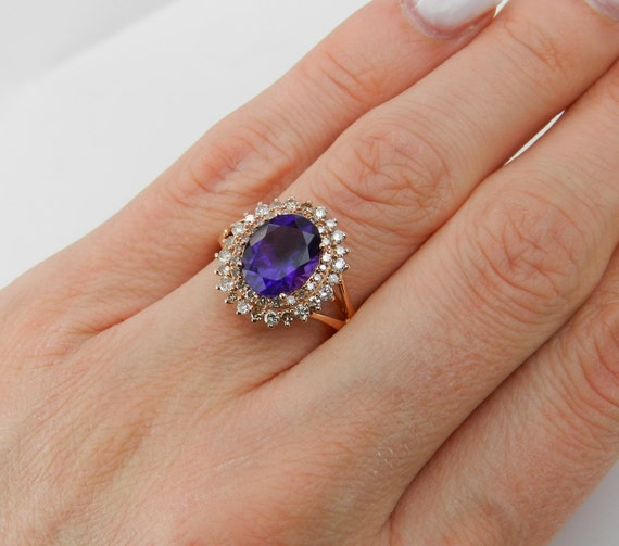 Diamond and Amethyst Ring, Diamond Halo Ring, 14K Rose Gold Amethyst Ring, Double Halo Ring, Rose Gold Engagement Ring, Size 7.25