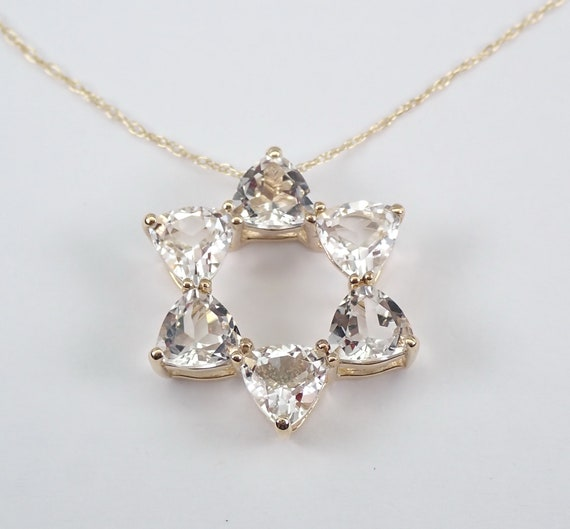 Trillion White Topaz Star of David Pendant Necklace 14K Yellow Gold Chain Jewish Charm
