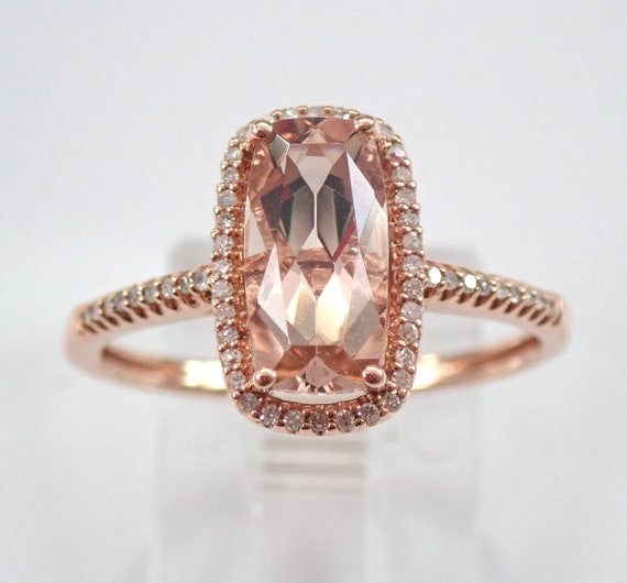 Morganite and Diamond Halo Engagement Ring Rose Gold Size 7.25 Cushion Cut FREE Sizing