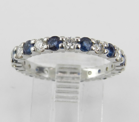 Diamond and Sapphire Eternity Wedding Ring Anniversary Band 14K White Gold Size 6