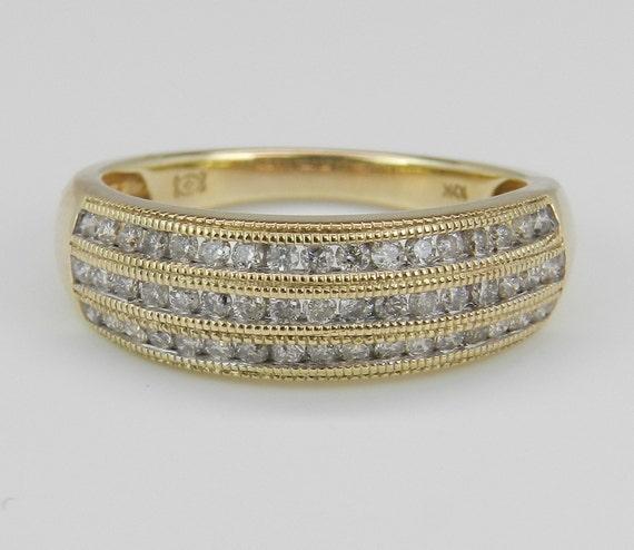 Diamond Anniversary Ring Wedding Band Yellow Gold 1/2 ct Size 7.25 Three Row