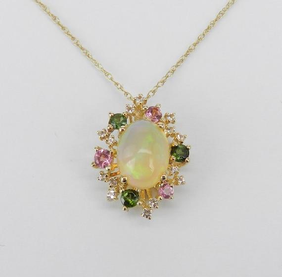 "Opal Green Pink Tourmaline White Sapphire Pendant Necklace Yellow Gold 18"" Chain"