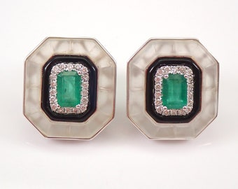 18K White Gold Emerald Onyx Frosted Quartz Diamond Halo Earrings ONE of a KIND