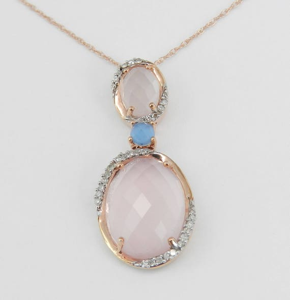 "50% off SALE Frosted Rose Quartz Diamond Blue Topaz Necklace Pendant 18"" Rose Gold Chain Unique Wedding Gift"