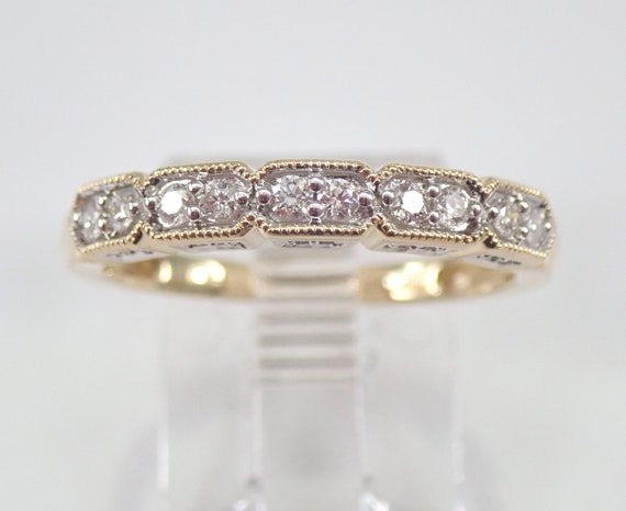 Diamond Wedding Ring Anniversary Band Yellow Gold Sizable Size 7 Stackable