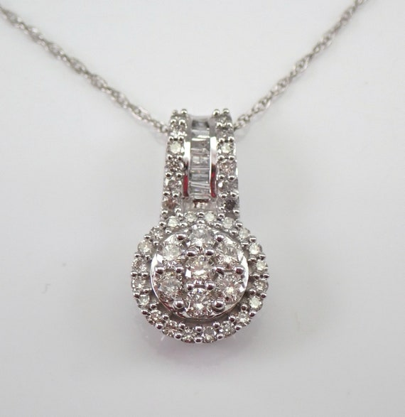 Diamond Cluster Pendant White Gold Diamond Halo Wedding Necklace Chain 18""