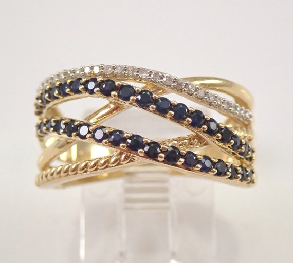 Yellow Gold Diamond and Sapphire Multi Row Band Anniversary Crossover Ring Size 7 FREE SIZING