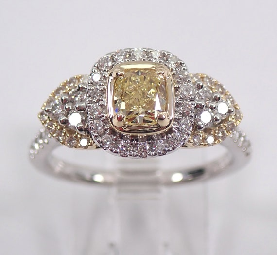 14K White Gold Canary Yellow Cushion Cut Diamond Halo Engagement Ring Size 7
