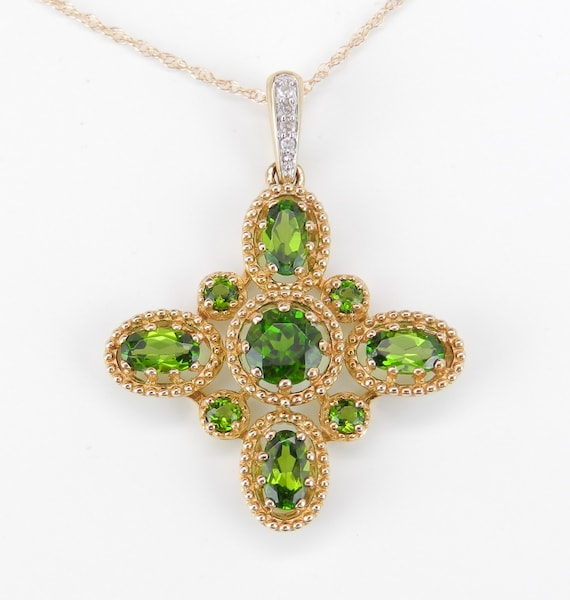 "Diamond and Green Chrome Diopside CROSS Pendant Necklace 14K Yellow Gold 18"" Chain Religious Charm"