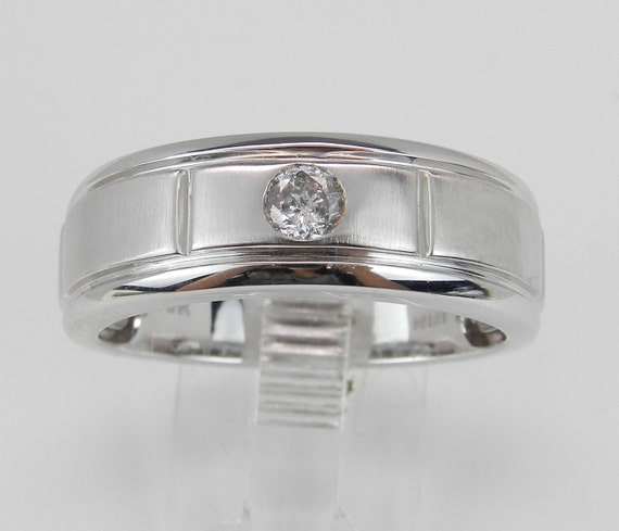 Men's Solitaire Diamond Wedding Ring Anniversary Band White Gold Size 10.75