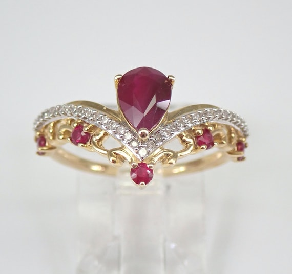 Pear Ruby and Diamond Engagement Ring Yellow Gold Size 7 V Chevron Ring FREE Sizing