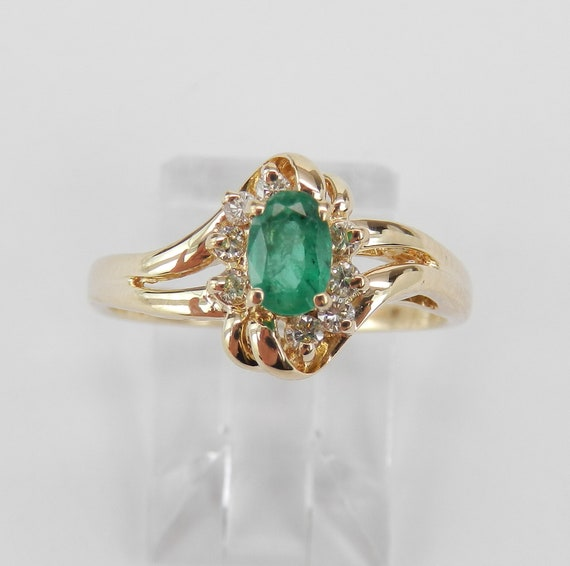 14K Yellow Gold Diamond and Emerald Engagement Ring May Birthstone Promise Size 7.5