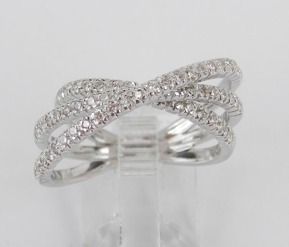 18K White Gold Diamond Crossover Wedding Ring Multi Row Anniversary Band Size 6.5