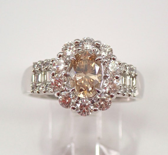 PLATINUM 2.29 ct Natural Fancy Oval Champagne Diamond Halo Engagement Ring Size 8.5 MUST SEE