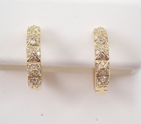 14K Yellow Gold Diamond Hoop Earrings Diamond Hoops Huggies Gift