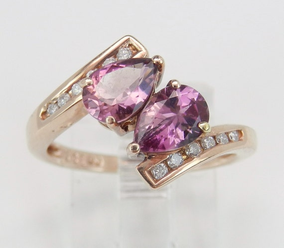 Diamond and Rhodolite Garnet Bypass Ring Right Hand Statement Ring 14K Pink Rose Gold Size 6.25 FREE Sizing