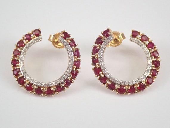 Yellow Gold Ruby and Diamond Circle Earrings Geometric Modern Wraparound Design